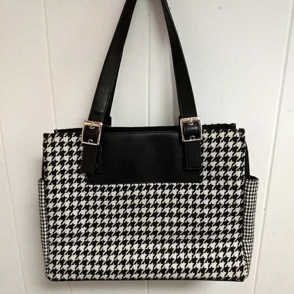Ralph Lauren Bags   Houndstooth Fabric Leather Tote   Poshmark 7fdc4c54d8